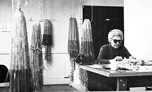 Claire Zeisler - Zeisler circa 1980 with works from her Dimensional Fibers