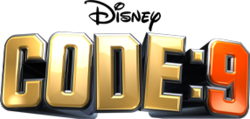 "The phrase ""CODE: 9"" in bold with ""CODE:"" in gold and ""9"" in a metallic orange and a grey colour surrounding the phrase, giving it a 3D effect."