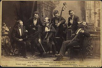 New York Philharmonic - The New York Philharmonic Club, a chamber ensemble of Philharmonic musicians, clowning for their public-relations photograph in the 1880s. New York Philharmonic Archives