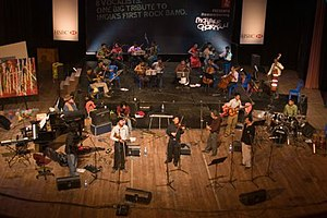 First Rock Concert – Remembering Mohiner Ghoraguli - The concert stage with all the musicians