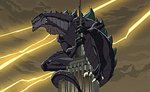 Godzilla: The Series - Godzilla on the Empire State Building as depicted in the opening to Godzilla: The Series.