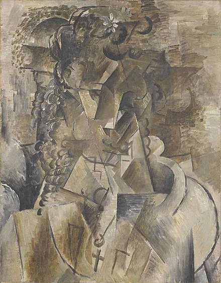 Georges Braque, 1911-12, Girl with a Cross, oil on canvas, 55 x 43 cm Georges Braque, 1911-12, Girl with a Cross, oil on canvas, 55 x 43 cm, Kimbell Art Museum, Fort Worth, Texas.jpg