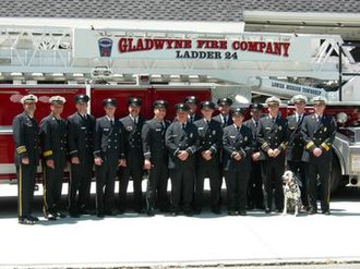 Penn Valley, Pennsylvania - Gladwyne firefighters with Rowdy
