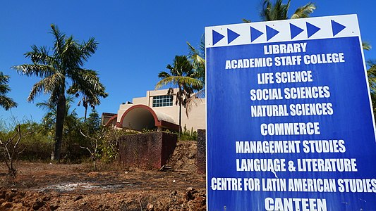 Goa University signboard for various faculty.
