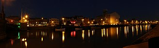 Great Yarmouth - Panorama of Hall Quay seen from Southtown. This shows the Town Hall and Star Hotel. Historic South Quay continues to the right of the image.