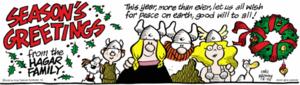 Hägar the Horrible - Hägar the Horrible characters (l. to r.): Snert, Hamlet, Helga, Hägar, Honi, Kvack