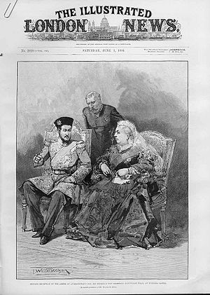 Nasrullah Khan (Afghanistan) - Prince Nasrullah meets Queen Victoria during his 1895 visit to England.
