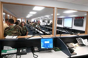 Joint Force Headquarters National Capital Region - JFHQ-NCR's Joint Operations Center at its dedication at Ft. McNair, Washington, D.C., August 2, 2004.