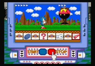 Sega Pico - A screenshot featuring gameplay from Sonic Gameworld, a typical example of a Pico game