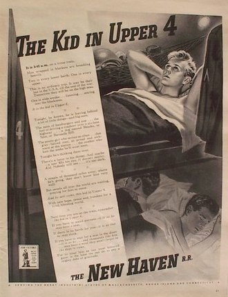 "New York, New Haven and Hartford Railroad - 1942 advertisement ""The Kid in Upper 4."" Passenger traffic temporarily swelled during World War II, but the New Haven itself apologized for its poor quality."