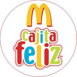 "Happy Meal - Happy Meal logo, Spanish. Text reads ""Happy Box"" (Latin America)"