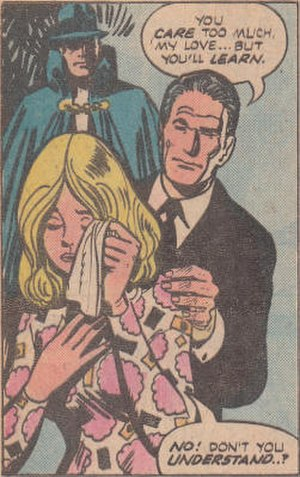 Death (DC Comics) - Death, right, with new bride Maggie Brennan and The Phantom Stranger.  Art by Dan Spiegle.