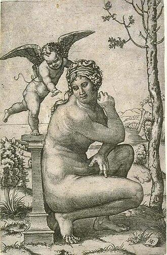 Crouching Venus - Crouching Venus engraved by Marcantonio Raimondi, 1505-06: which Roman marble furnished the model?