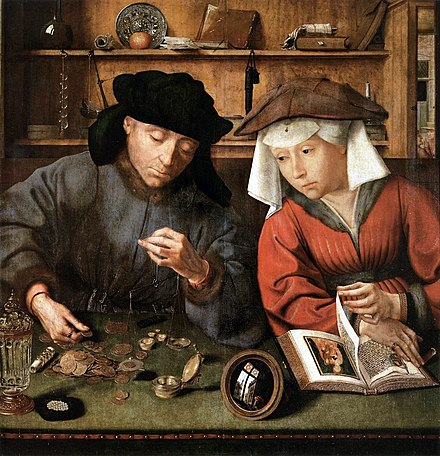 The Moneylender and his Wife (1514) Oil on panel, 71 x 68 cm Musee du Louvre, Paris Matsys the moneylender.jpg