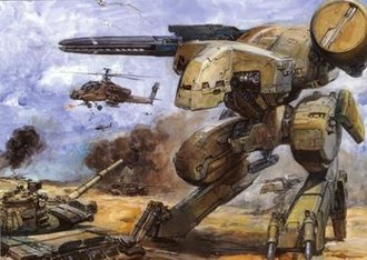 Mecha - An illustration depicting mass-produced versions of Metal Gear REX on a conventional battlefield.
