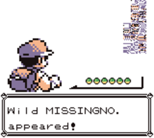 MissingNo. - The player encountering MissingNo. in Pokémon Red