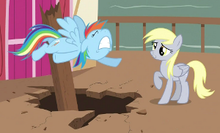 derpy right is berated by rainbow dash left from the episode the last
