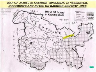 Siachen conflict - Map showing Siachen Glacier as part of Pakistan