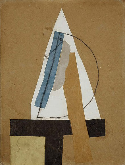 Pablo Picasso, 1913–14, Head (Tête), cut and pasted colored paper, gouache and charcoal on paperboard, 43.5 x 33 cm, Scottish National Gallery of Modern Art, Edinburgh