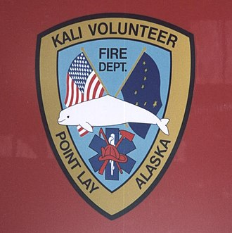 Point Lay, Alaska - Point Lay fire truck insignia with Beluga Whale.
