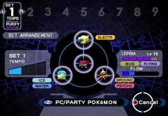 """Pokémon XD: Gale of Darkness - In the new """"Purify Chamber"""" mode, the player arranges purified Pokémon around a Shadow Pokémon to purify the latter. Ideally, four purified Pokémon would be arranged in a clockwise fashion so that each would have a typological advantage over the next. This would fill the """"tempo"""" gauge and allow for most efficient purification."""