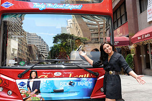 Ride of Fame - Rachael Ray posing with her Ride of Fame decal