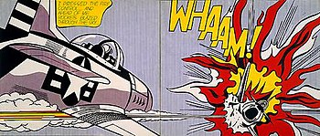 Whaam!, a 1963 pop art painting by Roy Lichten...