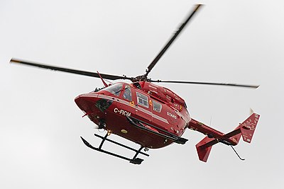 A Canadian STARS helicopter ambulance. Air ambulances often have staff who are specially trained for dealing with major trauma cases. STARS BK117 helicopter Exterior.jpg