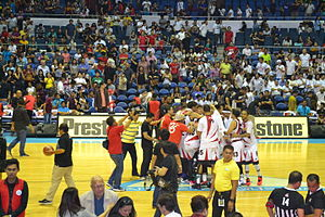 San Miguel Beermen - Winning victory of the San Miguel Beermen during Game 6 of the 2015–16 PBA Philippine Cup Finals at the Smart Araneta Coliseum on January 29, 2016.