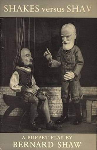 Shakes versus Shav - Lanchester's 1953 published version, depicting the Shakespeare and Shaw puppets