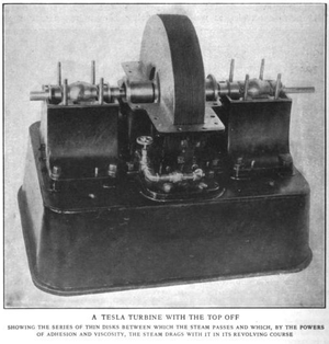 A photo of Tesla's own revolutionary turbine.