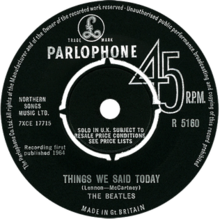 """B-side label of the """"Things We Said Today"""" single"""