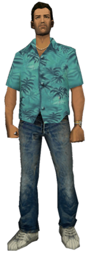 A computer generated image of a brown haired man. He wears a blue shirt with dark blue trees as the design, blue jeans and white sneakers.