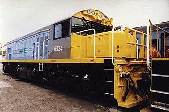 Tranz Rail - DQ 6324 at Palmerston North in Tranz Rail's Cato blue livery in use 1995—2001.