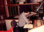 Announcer at the controls of the new WEZE on-air studio at Seven Parkway Center, Suite 625 in Greentree, April 1991. This location is now the main on-air studio for WORD-FM 101.5