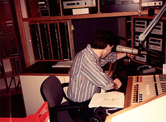 WPGB - Announcer at the controls of the new WEZE on-air studio at Seven Parkway Center, Suite 625 in Greentree, April 1991. This location is now the main on-air studio for WORD-FM 101.5