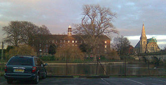 Wakeman School - The Wakeman School viewed from across the River Severn, with the English Bridge to the right.