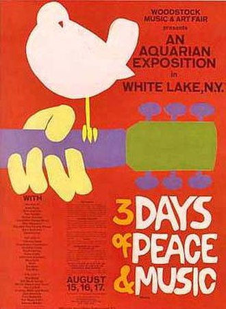 Woodstock - Logo designed by Arnold Skolnick; dove on guitar originally resembled a catbird perched on a guitar.