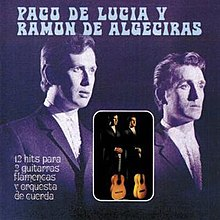 Two men in suits depicted in purplish tint with smaller inset full color photo of same two men standing with their flamenco guitars standing upright on the floor in front of them.