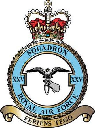 No. 25 Squadron RAF - No. XXV (F) Squadron badge