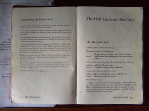 Philippine Book of Common Prayer in the Church of Saint Mary, Sagada, Mountain Province, Philippines. Book of Common Prayers in a Church in Sagda.jpg