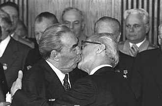 Kiss - The kiss of greeting between Leonid Brezhnev and Erich Honecker (1979, during the celebration of the 30 years of the GDR)