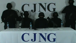 Jalisco New Generation Cartel - CJNG members direct a video to Felipe Calderón.