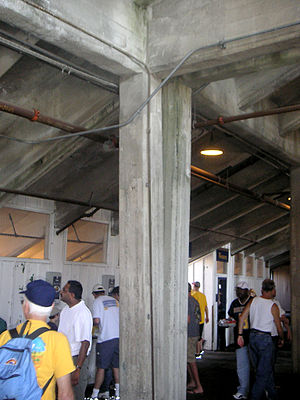 California Memorial Stadium - Memorial Stadium supporting columns diverging due to fault creep