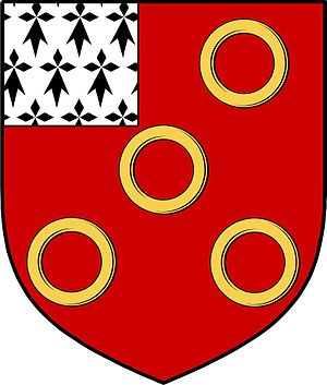 Cantwell Fada - The knight holds a shield with the Cantwell arms: Gules five annulets and a canton ermine.
