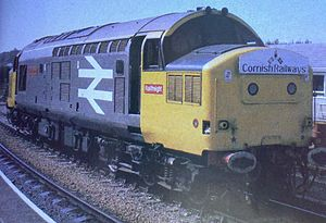 Railfreight - Railfreight livery without the red stripe, shown on a Class 37 in September 1985.