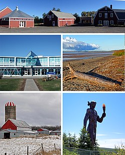 From top proceeding clockwise: Creamery Square in Tatamagouche, beach near Bass River, Glooscap monument in Millbrook, farm near Stewiacke, NSCC in Truro.