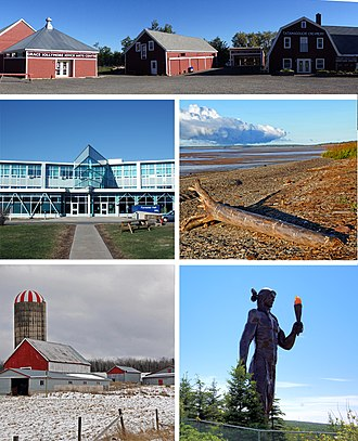 Colchester County - From top proceeding clockwise: Creamery Square in Tatamagouche, beach near Bass River, Glooscap monument in Millbrook, farm near Stewiacke, NSCC in Truro.