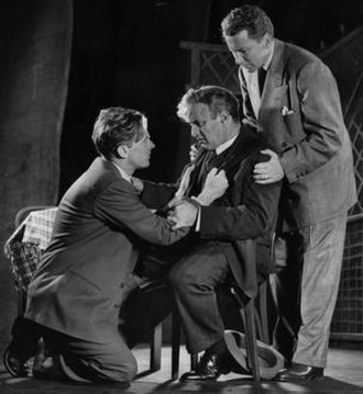 Willy Loman - Lee J Cobb (Willy), seated, with Arthur Kennedy (Biff), left, and Cameron Mitchell (Happy) in the 1949 production of Death of a Salesman