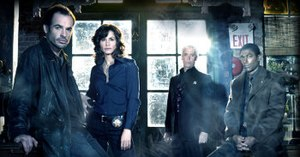 The Dresden Files (TV series) - (From left to right) Paul Blackthorne, Valerie Cruz, Terrence Mann, Conrad Coates: the main cast of The Dresden Files